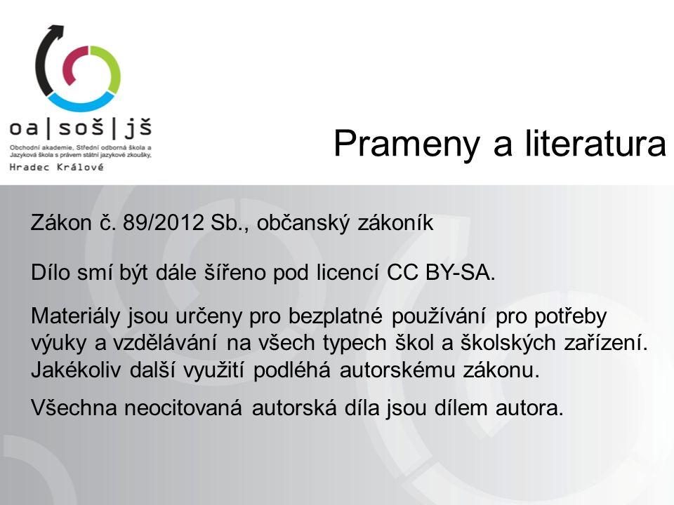 Prameny a literatura Zákon č.
