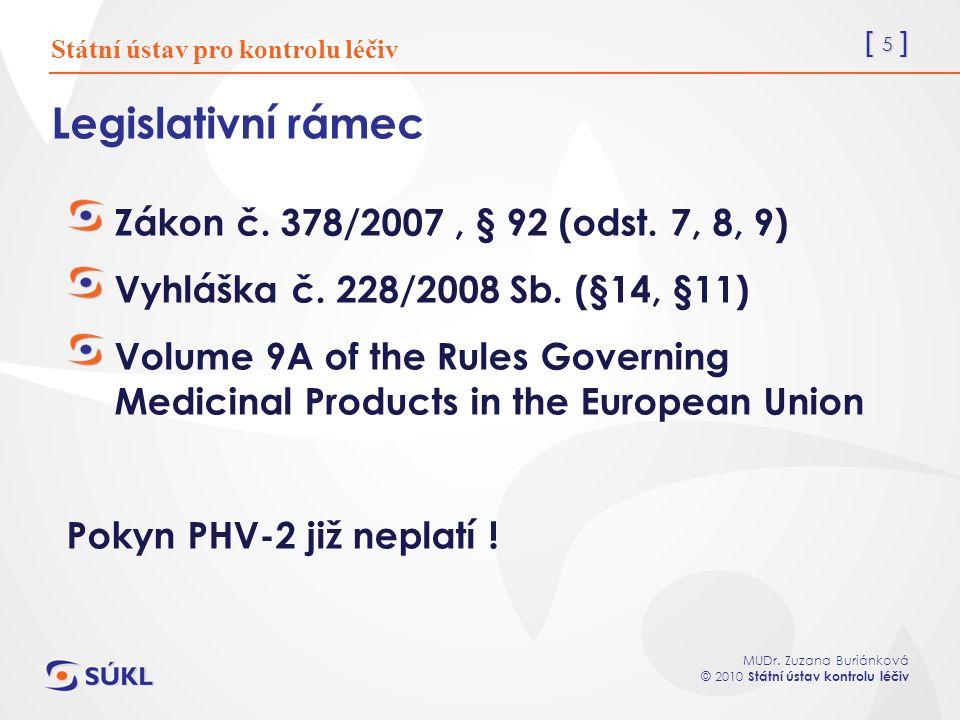 [ 5 ] MUDr. Zuzana Buriánková © 2010 Státní ústav kontrolu léčiv Legislativní rámec Zákon č.