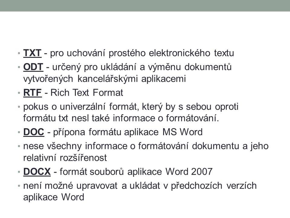 TXT - pro uchování prostého elektronického textu ODT - určený pro ukládání a výměnu dokumentů vytvořených kancelářskými aplikacemi RTF - Rich Text Format pokus o univerzální formát, který by s sebou oproti formátu txt nesl také informace o formátování.
