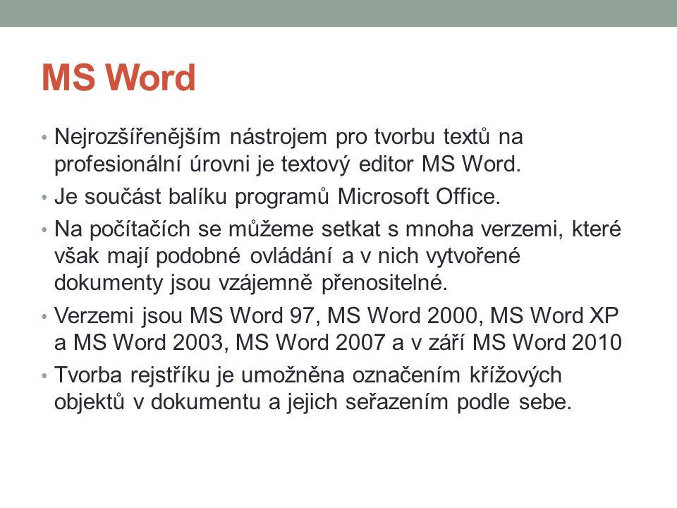 MS Word Nejrozšířenějším nástrojem pro tvorbu textů na profesionální úrovni je textový editor MS Word.