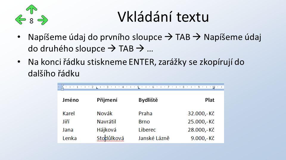 Napíšeme údaj do prvního sloupce  TAB  Napíšeme údaj do druhého sloupce  TAB  … Na konci řádku stiskneme ENTER, zarážky se zkopírují do dalšího řádku Vkládání textu 8