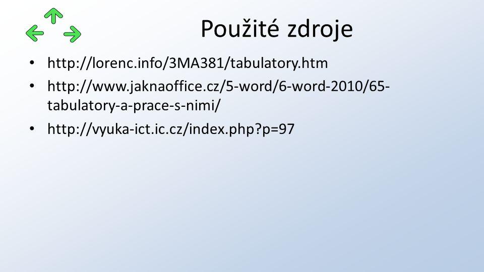 http://lorenc.info/3MA381/tabulatory.htm http://www.jaknaoffice.cz/5-word/6-word-2010/65- tabulatory-a-prace-s-nimi/ http://vyuka-ict.ic.cz/index.php p=97 Použité zdroje
