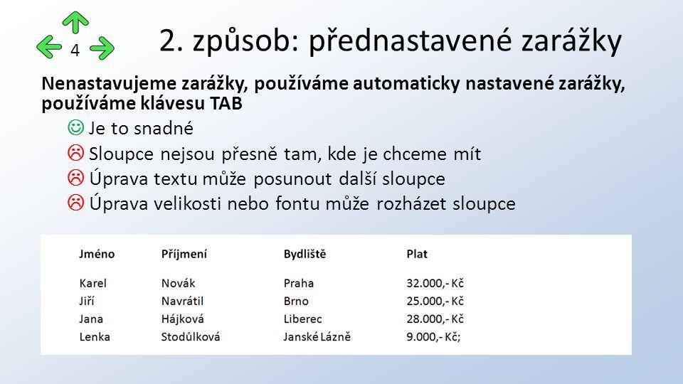 Nenastavujeme zarážky, používáme automaticky nastavené zarážky, používáme klávesu TAB Je to snadné  Sloupce nejsou přesně tam, kde je chceme mít  Úprava textu může posunout další sloupce  Úprava velikosti nebo fontu může rozházet sloupce 2.