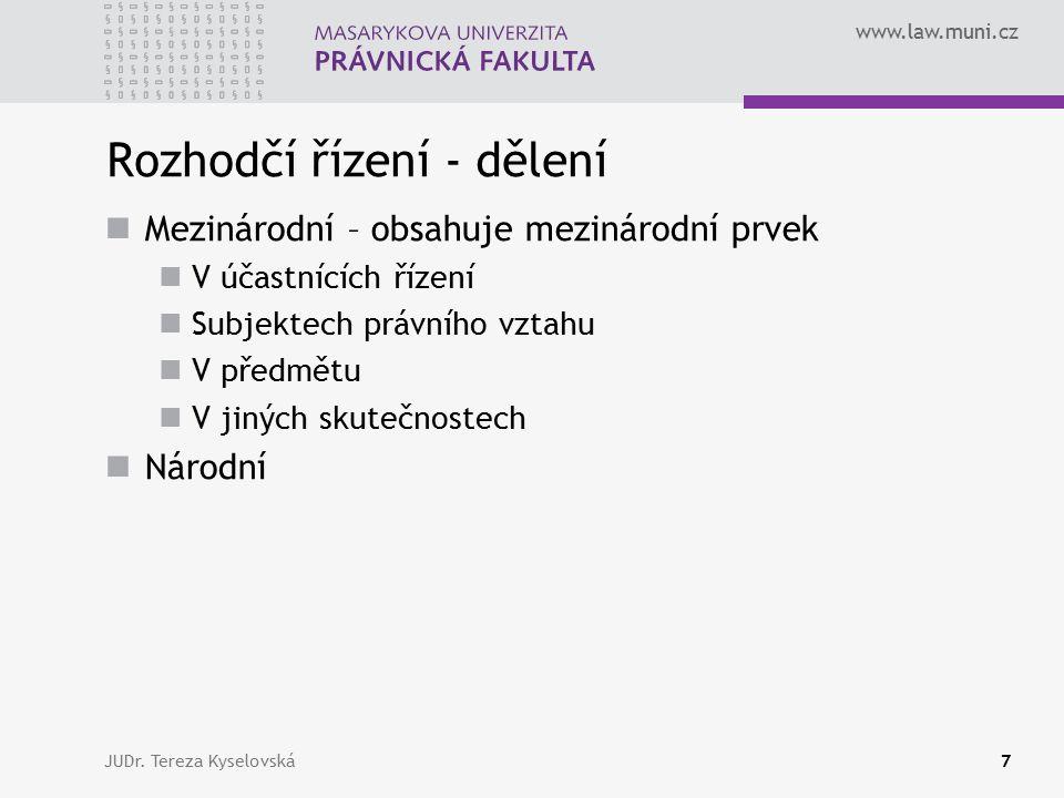 www.law.muni.cz Rozhodčí řízení - dělení Mezinárodní – obsahuje mezinárodní prvek V účastnících řízení Subjektech právního vztahu V předmětu V jiných skutečnostech Národní JUDr.
