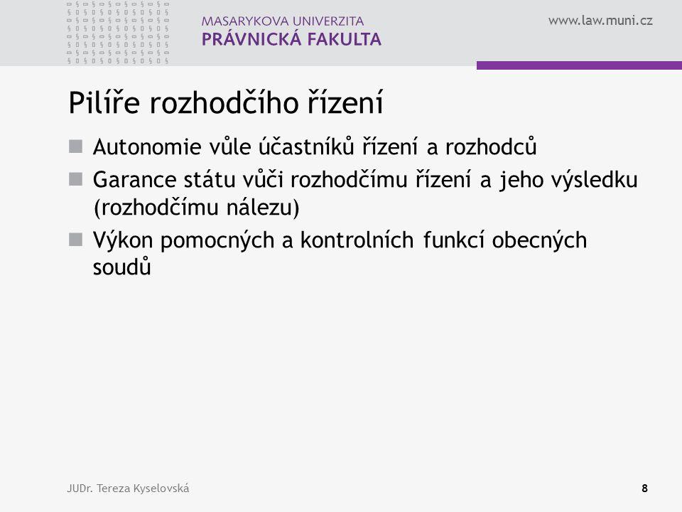 www.law.muni.cz Pilíře rozhodčího řízení Autonomie vůle účastníků řízení a rozhodců Garance státu vůči rozhodčímu řízení a jeho výsledku (rozhodčímu nálezu) Výkon pomocných a kontrolních funkcí obecných soudů JUDr.