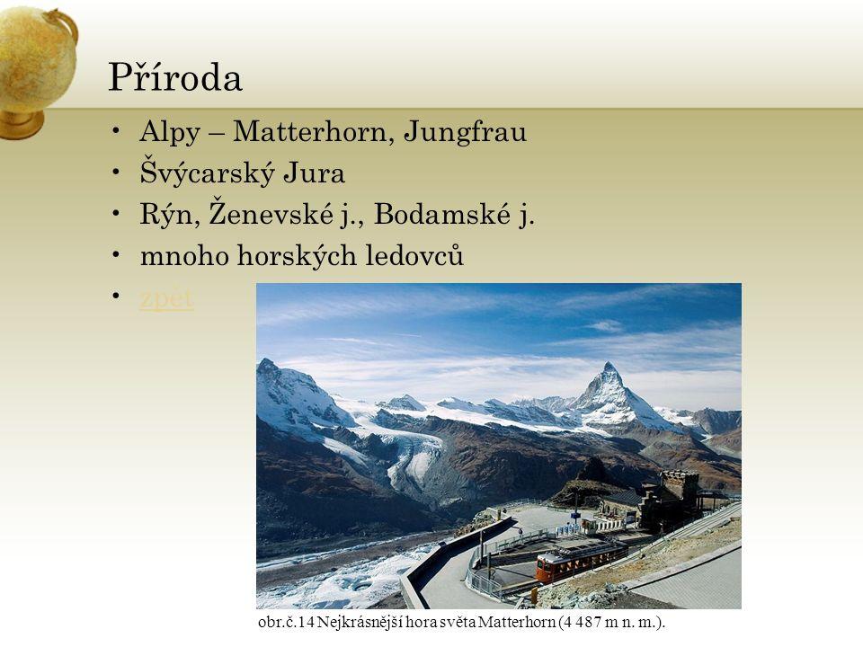 Příroda Alpy – Matterhorn, Jungfrau Švýcarský Jura Rýn, Ženevské j., Bodamské j.