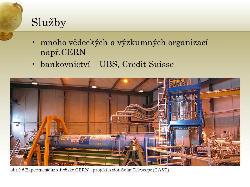 Služby mnoho vědeckých a výzkumných organizací – např.CERN bankovnictví – UBS, Credit Suisse obr.č.6 Experimentální středisko CERN – projekt Axion Solar Telescope (CAST).