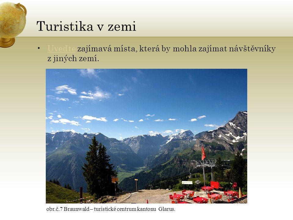 Turistika v zemi Uveďte zajímavá místa, která by mohla zajímat návštěvníky z jiných zemí.Uveďte obr.č.7 Braunwald – turistické centrum kantonu Glarus.