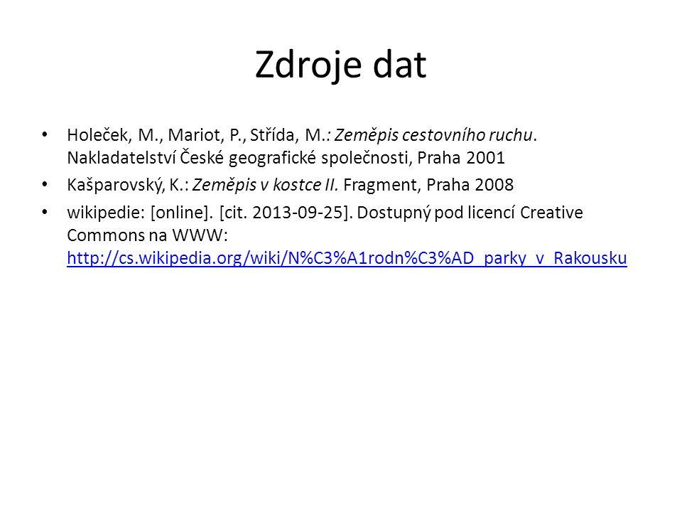 Zdroje dat Holeček, M., Mariot, P., Střída, M.: Zeměpis cestovního ruchu.