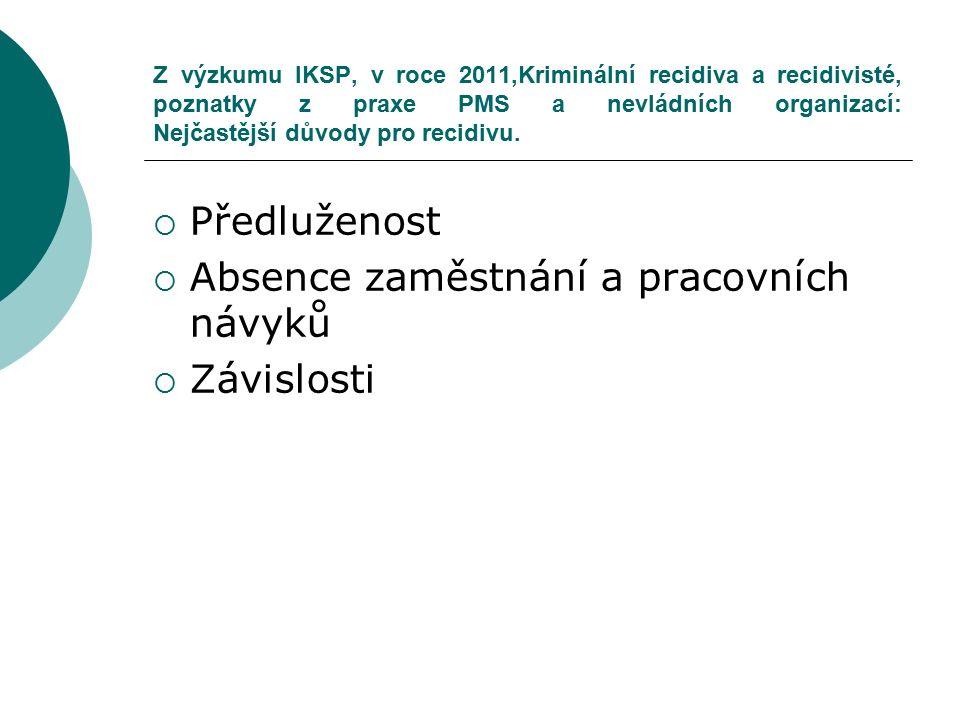 Z výzkumu IKSP, v roce 2011,Kriminální recidiva a recidivisté, poznatky z praxe PMS a nevládních organizací: Nejčastější důvody pro recidivu.  Předlu