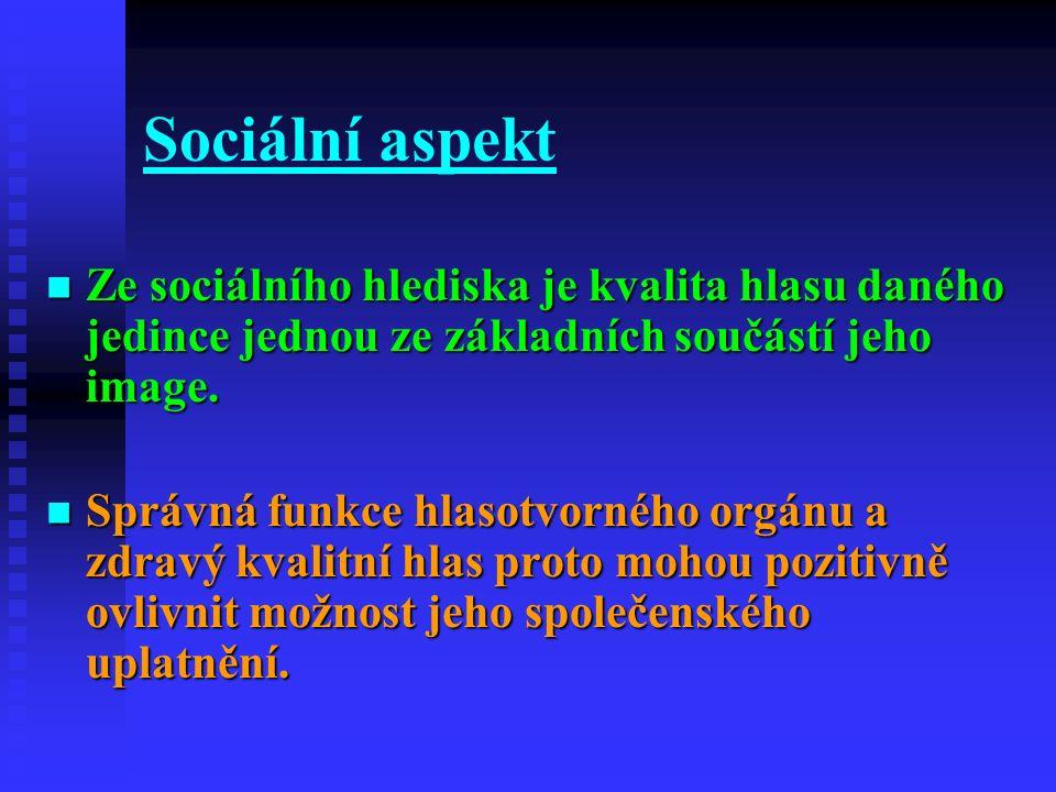 Sociální aspekt Ze sociálního hlediska je kvalita hlasu daného jedince jednou ze základních součástí jeho image. Ze sociálního hlediska je kvalita hla