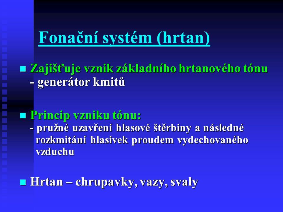 Fonační systém (hrtan) Zajišťuje vznik základního hrtanového tónu - generátor kmitů Zajišťuje vznik základního hrtanového tónu - generátor kmitů Princ