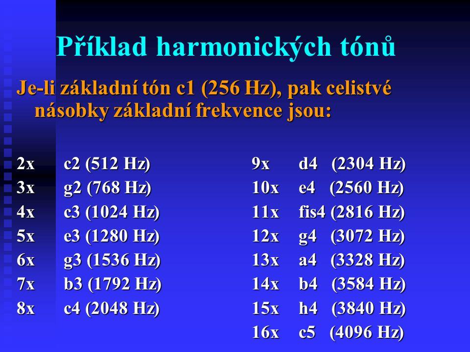 Příklad harmonických tónů Je-li základní tón c1 (256 Hz), pak celistvé násobky základní frekvence jsou: 2x c2 (512 Hz)9xd4 (2304 Hz) 3xg2 (768 Hz)10xe