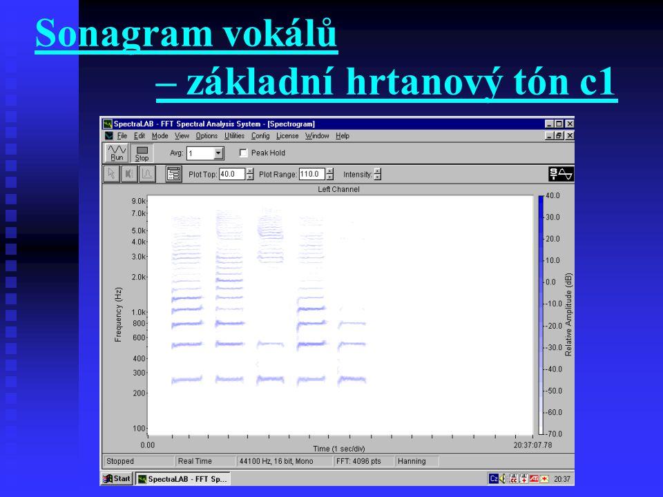 Sonagram vokálů – základní hrtanový tón c1
