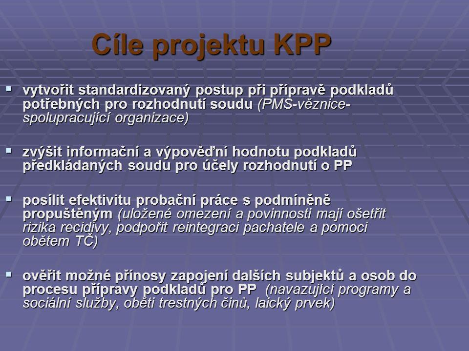 Cíle projektu KPP  vytvořit standardizovaný postup při přípravě podkladů potřebných pro rozhodnutí soudu (PMS-věznice- spolupracující organizace)  zvýšit informační a výpověďní hodnotu podkladů předkládaných soudu pro účely rozhodnutí o PP  posílit efektivitu probační práce s podmíněně propuštěným (uložené omezení a povinnosti mají ošetřit rizika recidivy, podpořit reintegraci pachatele a pomoci obětem TČ)  ověřit možné přínosy zapojení dalších subjektů a osob do procesu přípravy podkladů pro PP (navazující programy a sociální služby, oběti trestných činů, laický prvek)