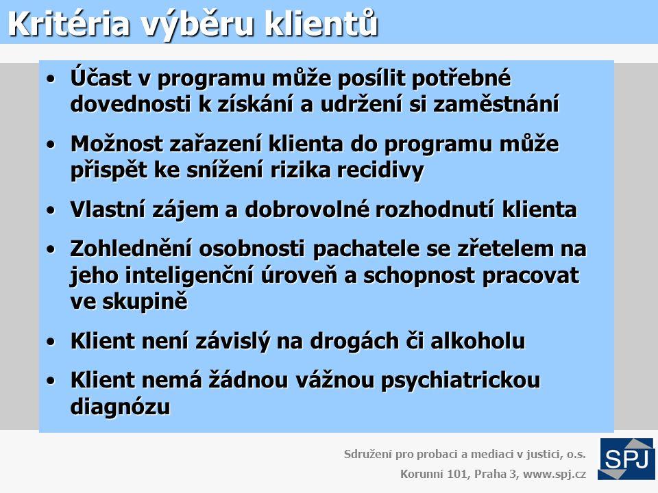 Kritéria výběru klientů Sdružení pro probaci a mediaci v justici, o.s.