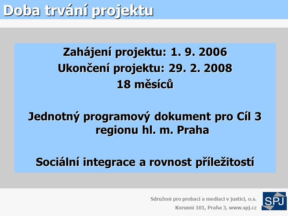 Doba trvání projektu Zahájení projektu: 1. 9. 2006 Ukončení projektu: 29.