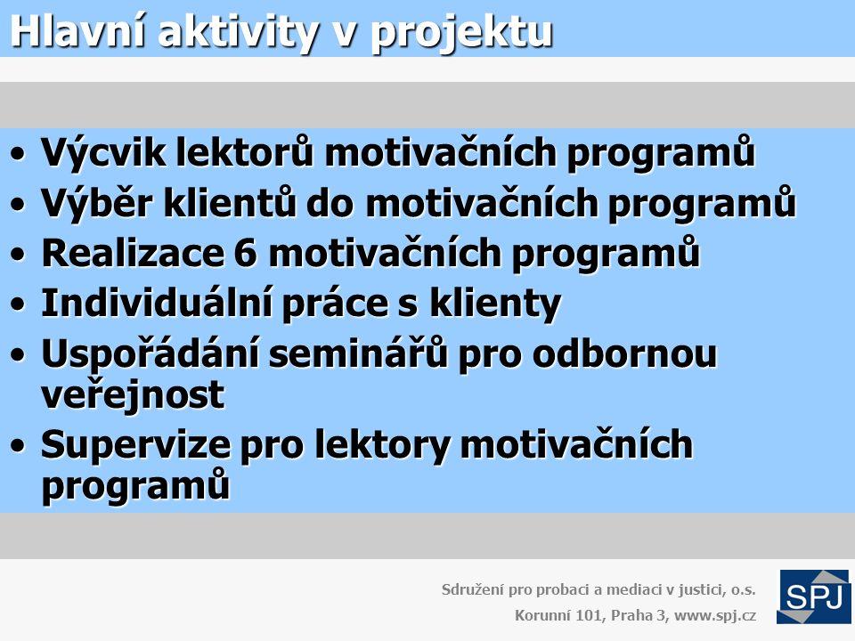 Hlavní aktivity v projektu Sdružení pro probaci a mediaci v justici, o.s.
