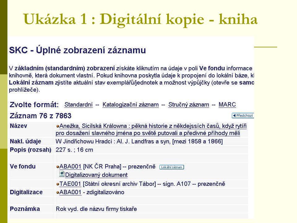 Ukázka 1 : Digitální kopie - kniha