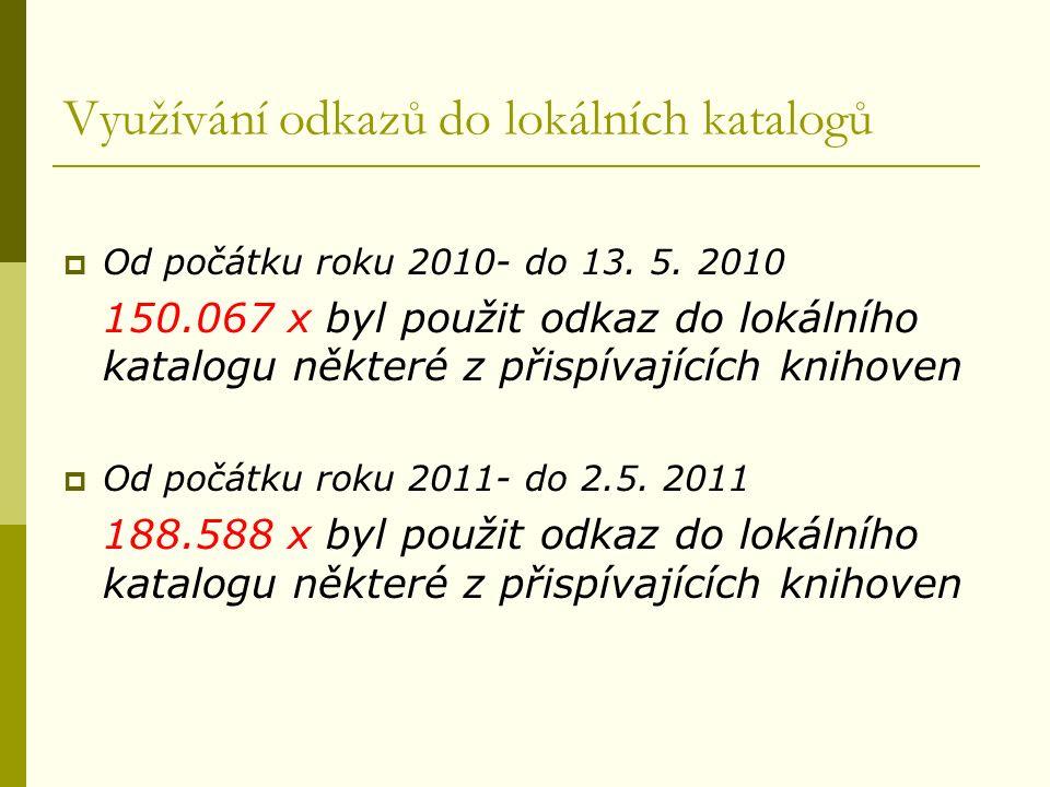 Využívání odkazů do lokálních katalogů  Od počátku roku 2010- do 13.