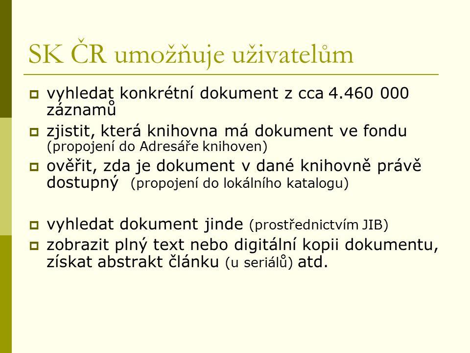 SK ČR umožňuje uživatelům  vyhledat konkrétní dokument z cca 4.460 000 záznamů  zjistit, která knihovna má dokument ve fondu (propojení do Adresáře knihoven)  ověřit, zda je dokument v dané knihovně právě dostupný (propojení do lokálního katalogu)  vyhledat dokument jinde (prostřednictvím JIB)  zobrazit plný text nebo digitální kopii dokumentu, získat abstrakt článku (u seriálů) atd.