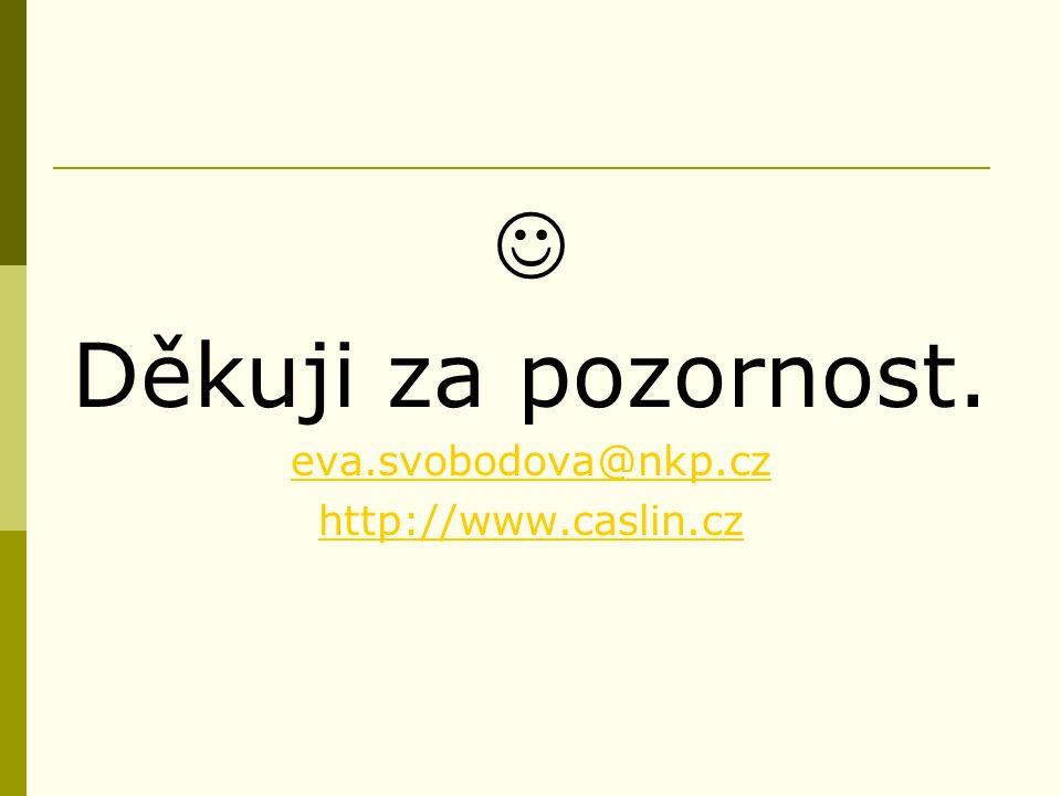 Děkuji za pozornost. eva.svobodova@nkp.cz http://www.caslin.cz