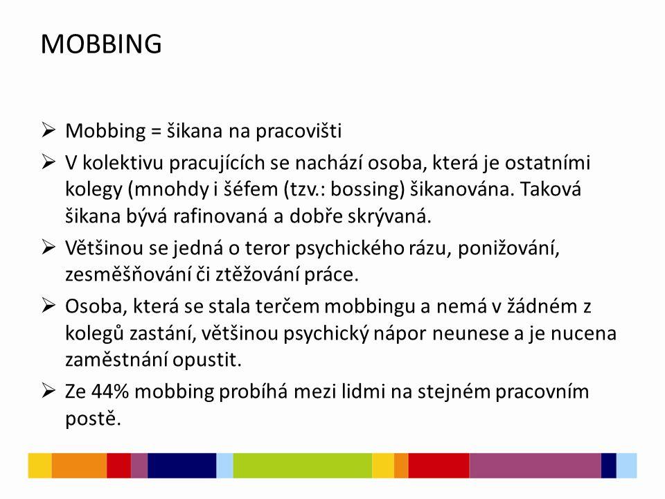 MOBBING  Mobbing = šikana na pracovišti  V kolektivu pracujících se nachází osoba, která je ostatními kolegy (mnohdy i šéfem (tzv.: bossing) šikanov
