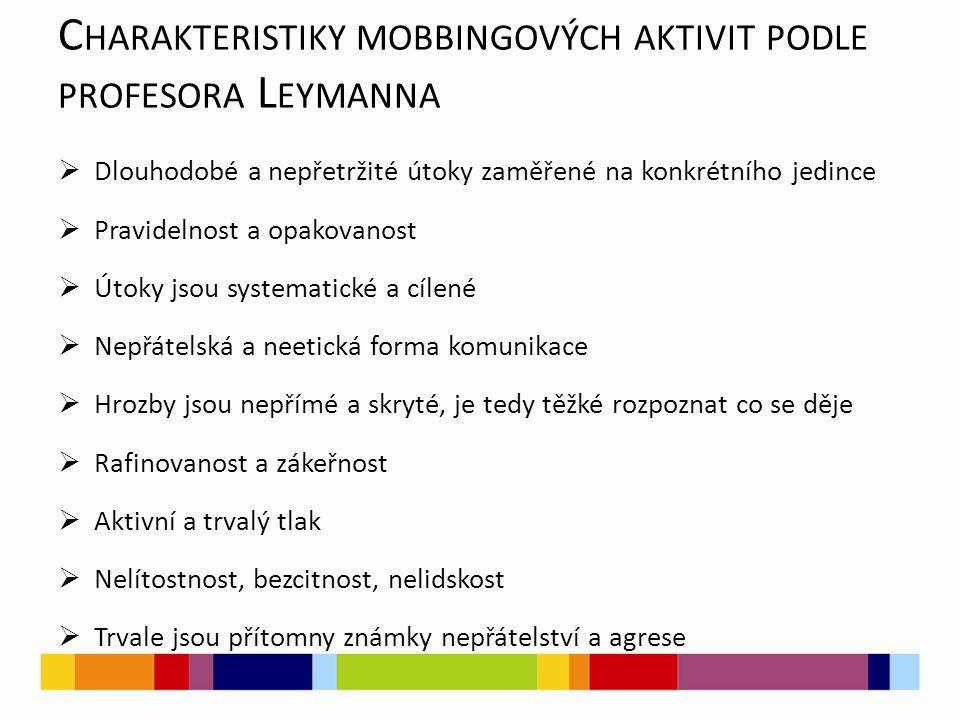 C HARAKTERISTIKY MOBBINGOVÝCH AKTIVIT PODLE PROFESORA L EYMANNA  Dlouhodobé a nepřetržité útoky zaměřené na konkrétního jedince  Pravidelnost a opak