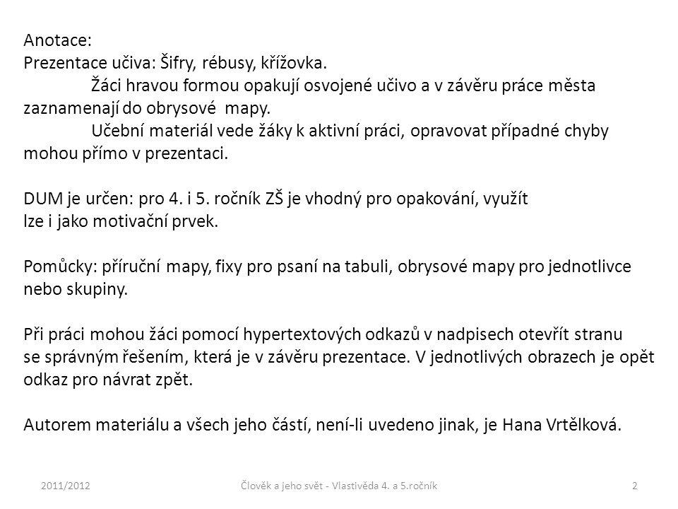 Anotace: Prezentace učiva: Šifry, rébusy, křížovka.