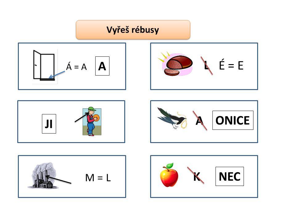 Vyřeš rébusy Á = A A JI M = L L É = E A ONICE K NEC