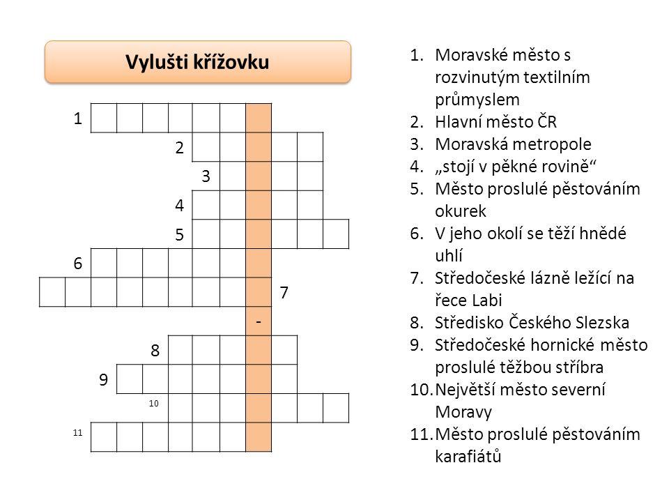 Do mapy ČR vyznačte města, jejichž názvy jste vyluštili v předchozích úkolech