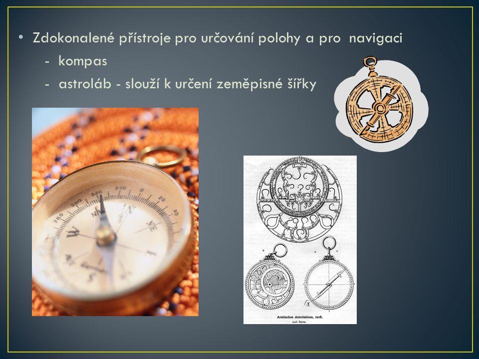 Zdokonalené přístroje pro určování polohy a pro navigaci - kompas - astroláb - slouží k určení zeměpisné šířky
