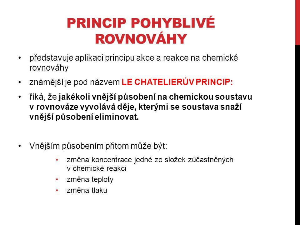 PRINCIP POHYBLIVÉ ROVNOVÁHY představuje aplikaci principu akce a reakce na chemické rovnováhy známější je pod názvem LE CHATELIERŮV PRINCIP: říká, že jakékoli vnější působení na chemickou soustavu v rovnováze vyvolává děje, kterými se soustava snaží vnější působení eliminovat.