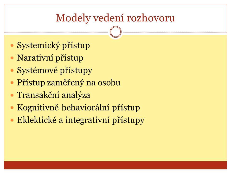 Modely vedení rozhovoru Systemický přístup Narativní přístup Systémové přístupy Přístup zaměřený na osobu Transakční analýza Kognitivně-behaviorální přístup Eklektické a integrativní přístupy