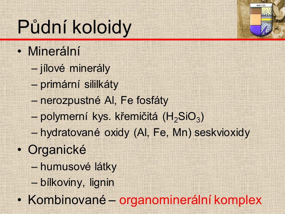 Půdní koloidy Minerální –j–jílové minerály –p–primární sililkáty –n–nerozpustné Al, Fe fosfáty –p–polymerní kys.