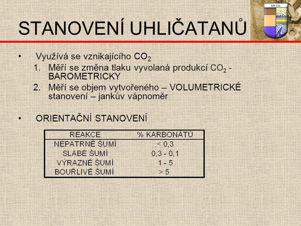 STANOVENÍ UHLIČATANŮ Využívá se vznikajícího CO 2 1.Měří se změna tlaku vyvolaná produkcí CO 2 - BAROMETRICKY 2.Měří se objem vytvořeného – VOLUMETRICKÉ stanovení – jankův vápnoměr ORIENTAČNÍ STANOVENÍ