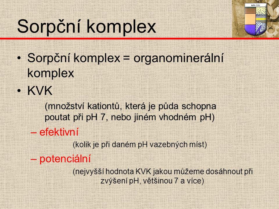 Sorpční komplex Sorpční komplex = organominerální komplex KVK (množství kationtů, která je půda schopna poutat při pH 7, nebo jiném vhodném pH) –e–efektivní (kolik je při daném pH vazebných míst) –p–potenciální (nejvyšší hodnota KVK jakou můžeme dosáhnout při zvýšení pH, většinou 7 a více)