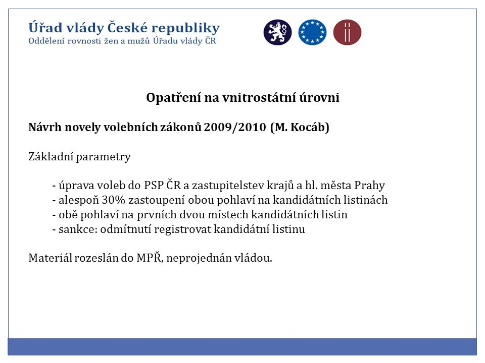 Opatření na vnitrostátní úrovni Návrh novely volebních zákonů 2009/2010 (M.