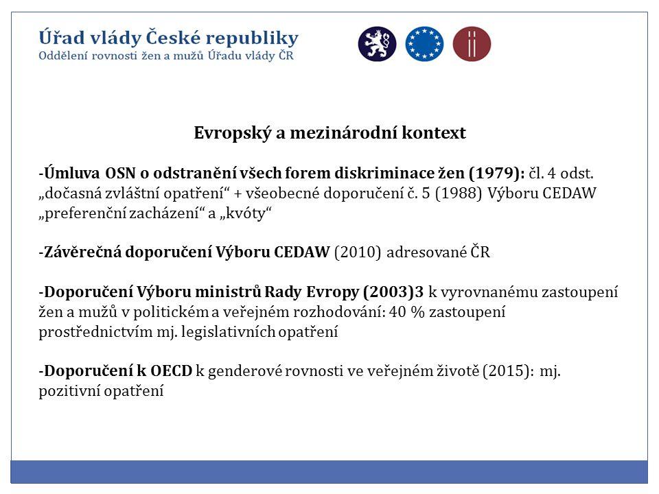 Evropský a mezinárodní kontext -Úmluva OSN o odstranění všech forem diskriminace žen (1979): čl.