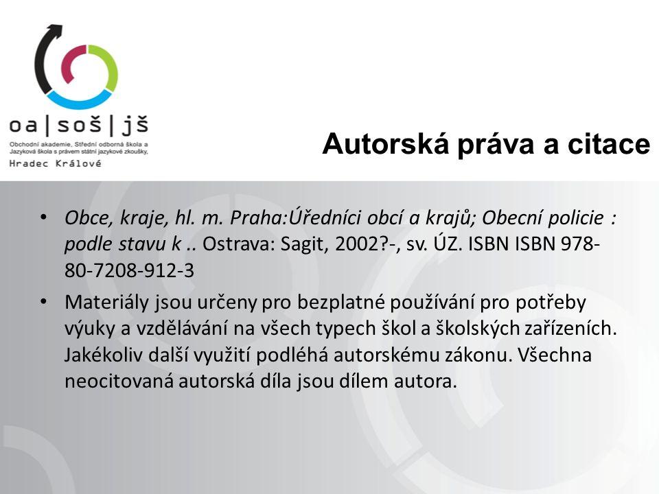 Autorská práva a citace Obce, kraje, hl. m.