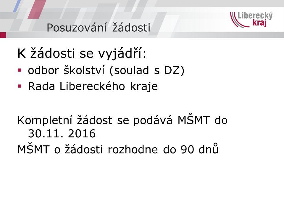 Posuzování žádosti K žádosti se vyjádří:  odbor školství (soulad s DZ)  Rada Libereckého kraje Kompletní žádost se podává MŠMT do 30.11.