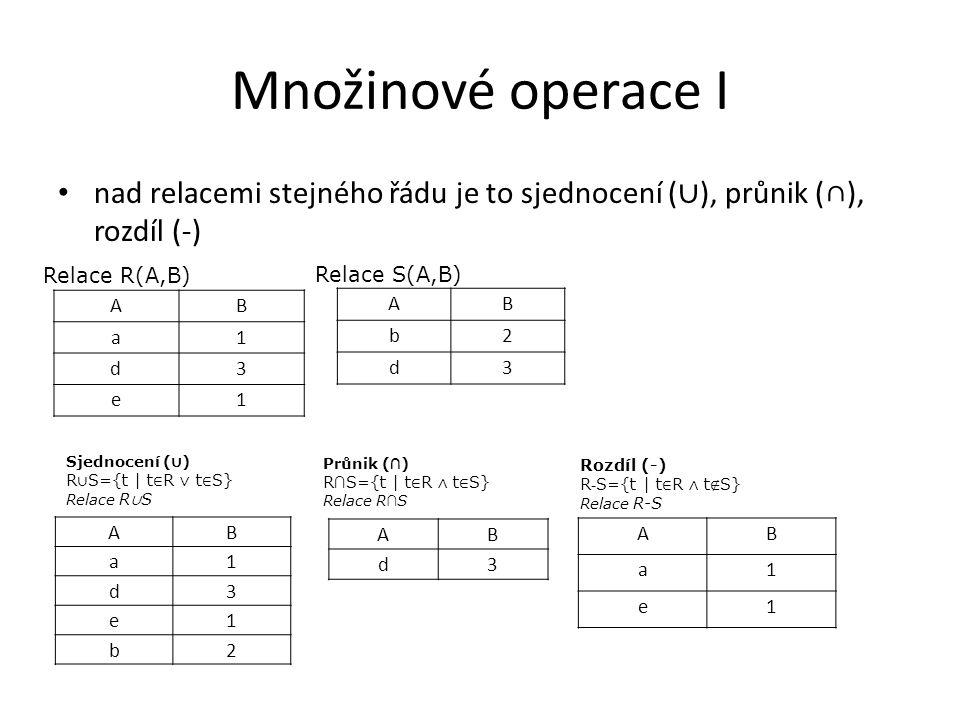 Množinové operace I nad relacemi stejného řádu je to sjednocení ( ∪ ), průnik (∩), rozdíl (-) AB b2 d3 Relace R(A,B) Relace S(A,B) AB a1 d3 e1 b2 Sjednocení ( ∪ ) R ∪ S={t | t ∈ R ∨ t ∈ S} Relace R ∪ S AB a1 d3 e1 AB d3 Průnik ( ∩ ) R ∩ S={t | t ∈ R ∧ t ∈ S} Relace R ∩ S AB a1 e1 Rozdíl (-) R - S={t | t ∈ R ∧ t ∉ S} Relace R-S