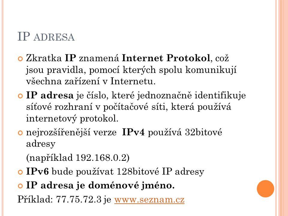 IP ADRESA Zkratka IP znamená Internet Protokol, což jsou pravidla, pomocí kterých spolu komunikují všechna zařízení v Internetu. IP adresa je číslo, k
