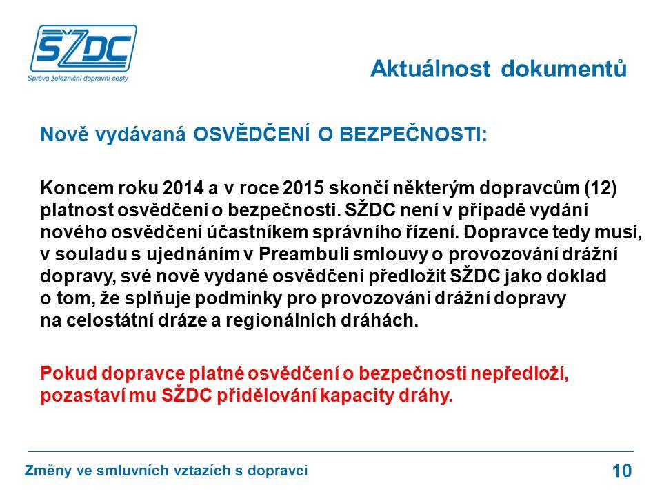 Nově vydávaná OSVĚDČENÍ O BEZPEČNOSTI: Koncem roku 2014 a v roce 2015 skončí některým dopravcům (12) platnost osvědčení o bezpečnosti.