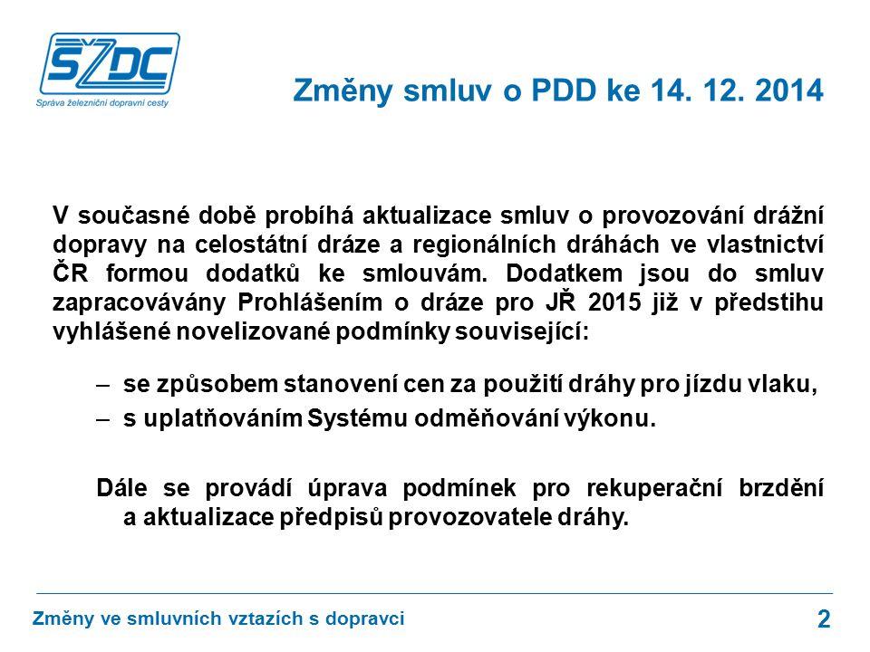 V současné době probíhá aktualizace smluv o provozování drážní dopravy na celostátní dráze a regionálních dráhách ve vlastnictví ČR formou dodatků ke smlouvám.