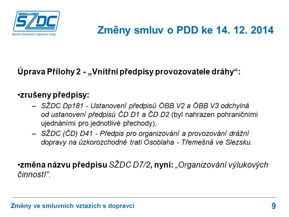 """Úprava Přílohy 2 - """"Vnitřní předpisy provozovatele dráhy : zrušeny předpisy: –SŽDC Dp181 - Ustanovení předpisů ÖBB V2 a ÖBB V3 odchylná od ustanovení předpisů ČD D1 a ČD D2 (byl nahrazen pohraničními ujednáními pro jednotlivé přechody), –SŽDC (ČD) D41 - Předpis pro organizování a provozování drážní dopravy na úzkorozchodné trati Osoblaha - Třemešná ve Slezsku."""