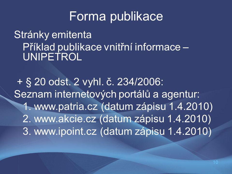 10 Forma publikace Stránky emitenta Příklad publikace vnitřní informace – UNIPETROL + § 20 odst. 2 vyhl. č. 234/2006: Seznam internetových portálů a a