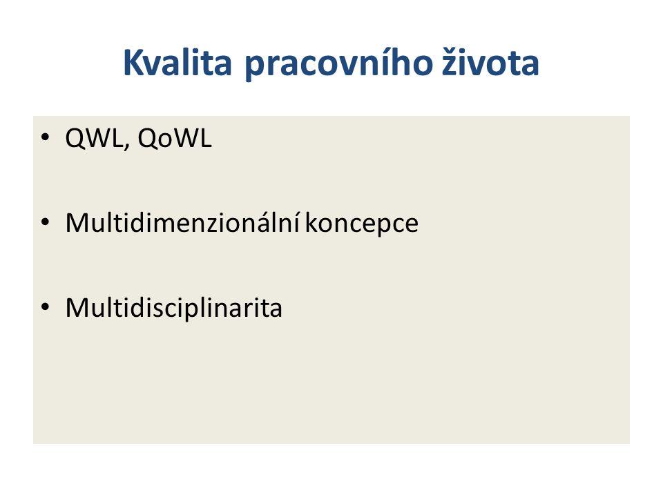 Kvalita pracovního života QWL, QoWL Multidimenzionální koncepce Multidisciplinarita