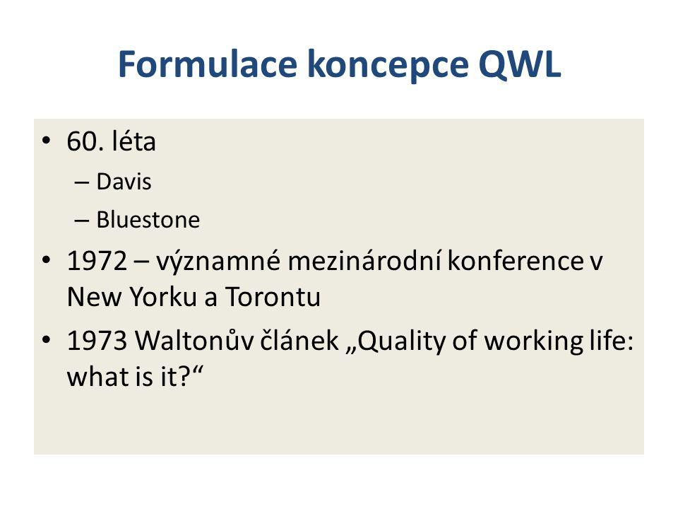 Waltonova koncepce QWL Adekvátní a spravedlivý systém odměňování Bezpečné pracovní podmínky (BOZP) Podmínky pro rozvoj a využití potenciálu Perspektivy pro kontinuální rozvoj Společenská integrace v organizaci Dodržování legislativy - práva zaměstnanců Práce a celkový životní prostor (včetně W-L rovnováhy) Společenský význam práce