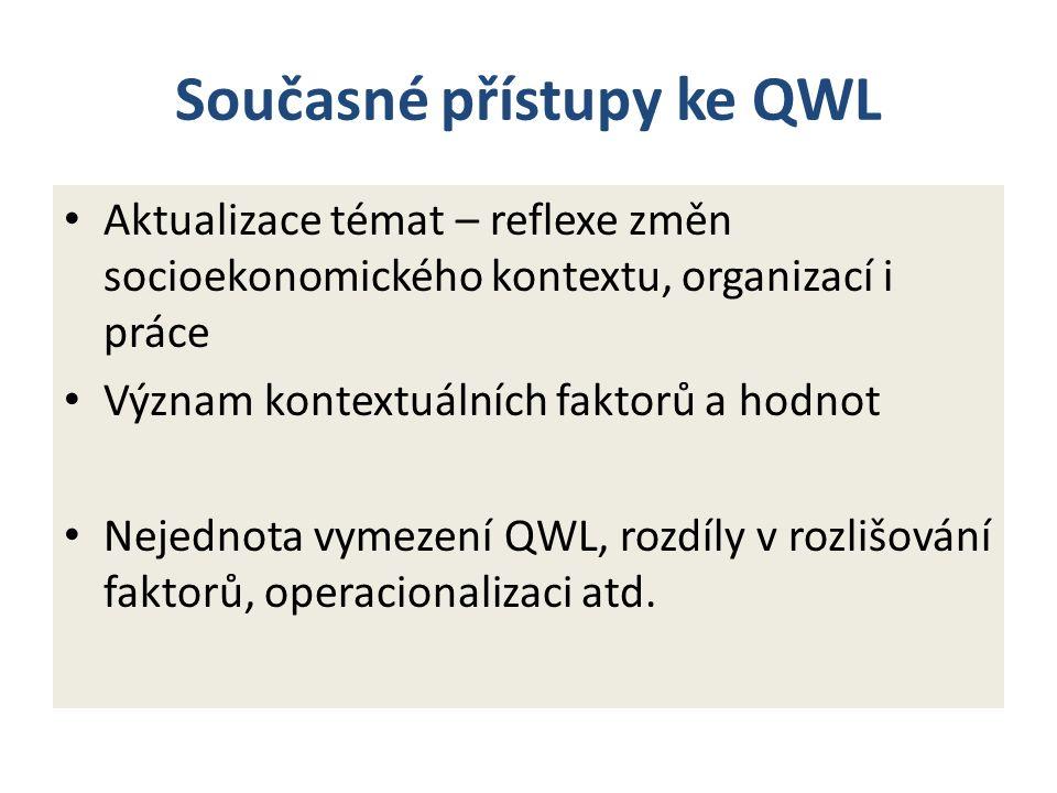 Současné přístupy ke QWL Aktualizace témat – reflexe změn socioekonomického kontextu, organizací i práce Význam kontextuálních faktorů a hodnot Nejednota vymezení QWL, rozdíly v rozlišování faktorů, operacionalizaci atd.